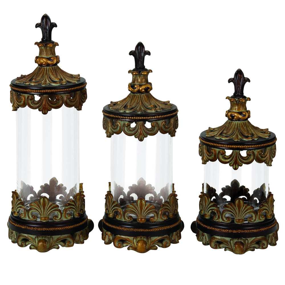 Urban Designs Fleur-De-Lis 3-Piece Glass Cylinder Canister Set - Antique Gold