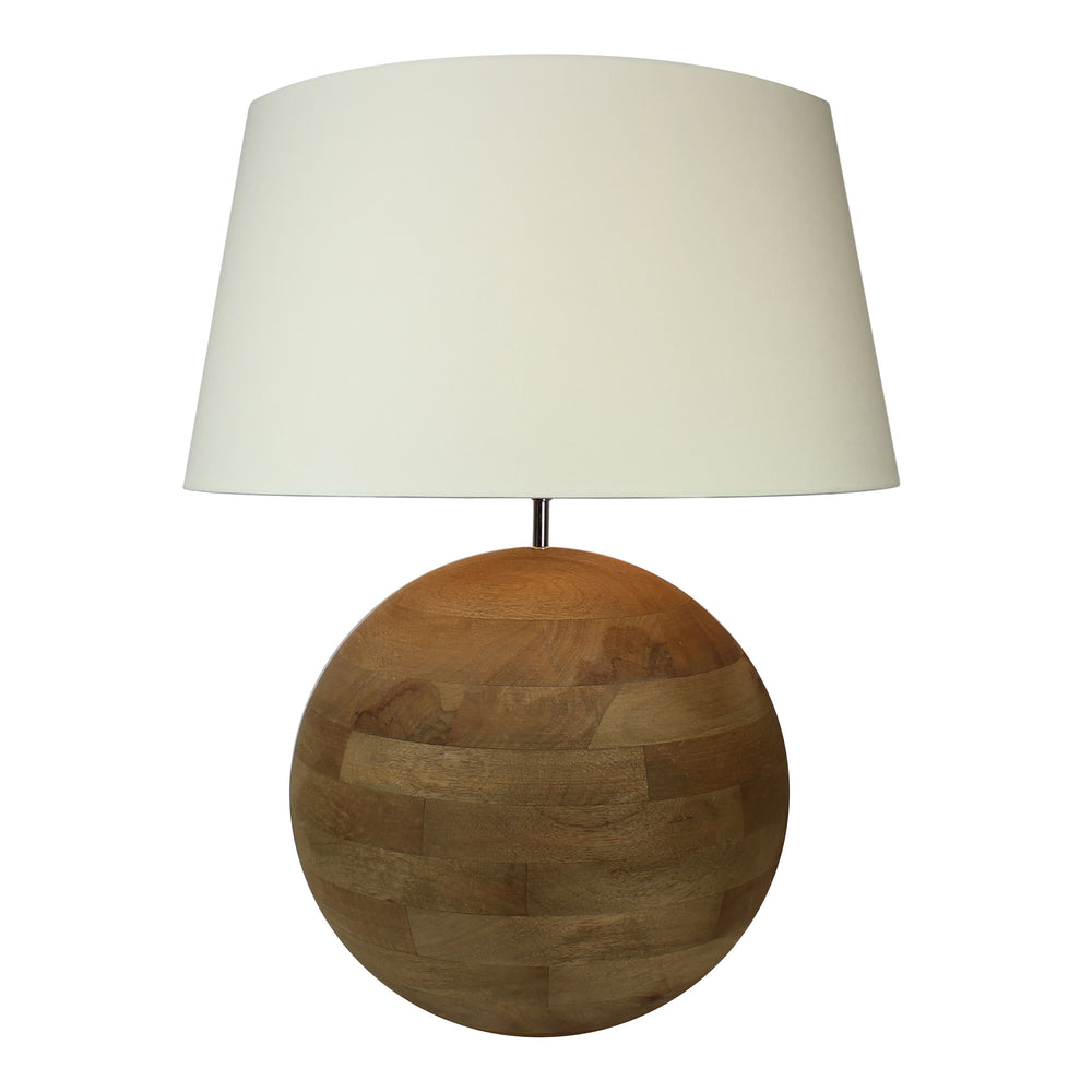 Light & Living Strada Solid Teak Vintage Wood Sphere Handcrafted Table Lamp