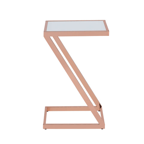 Urban Designs Pierce Accent Side Table - Frosted Glass and Rose Gold