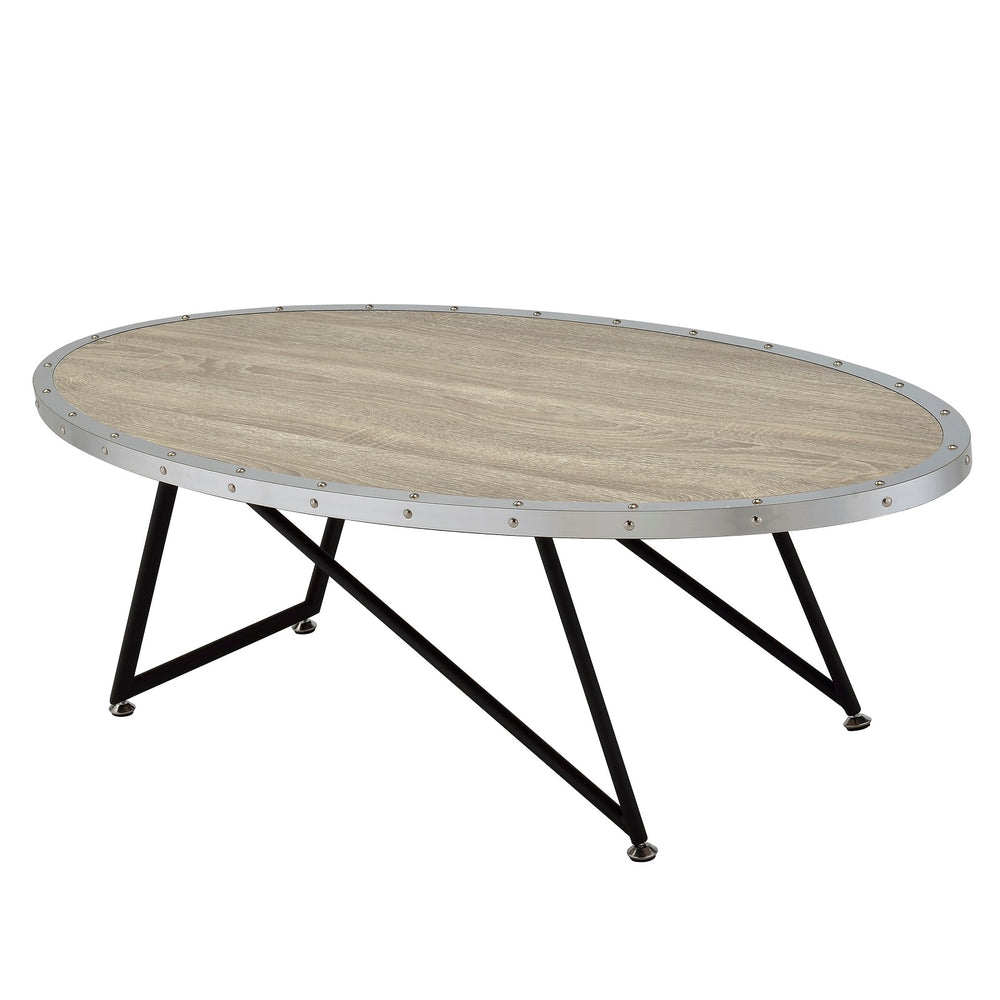"Urban Designs 46"" L Weathered Gray Oak Oval Coffee Table"