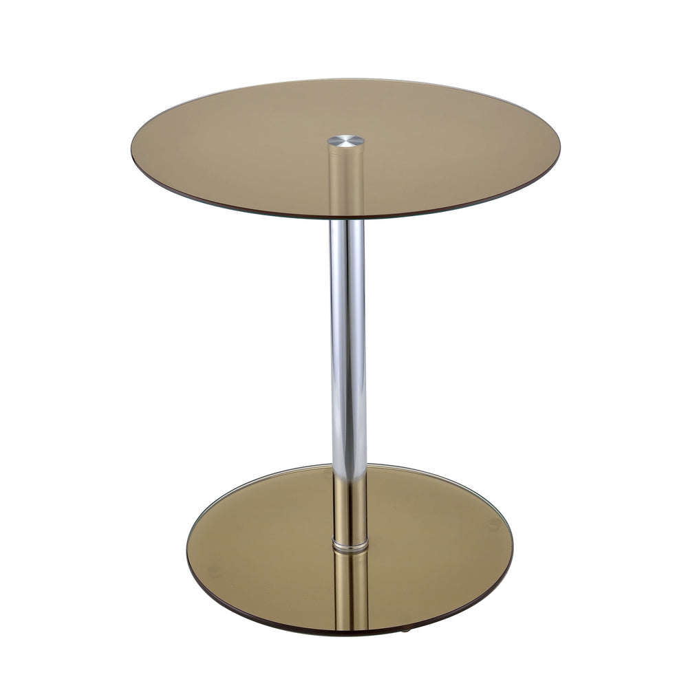 Urban Designs Samantha Chrome Accent Side Table - Smoke Glass