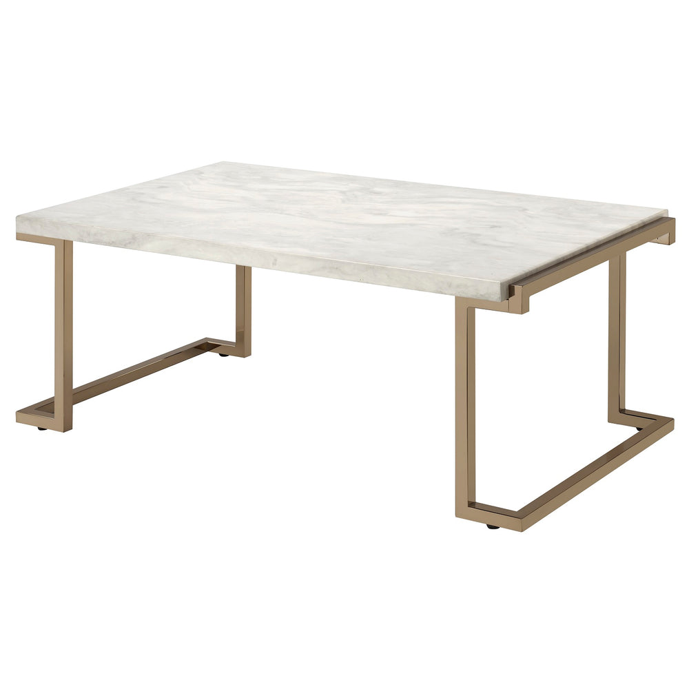 "Urban Designs 44"" L Faux Marble And Metal Coffee Table"