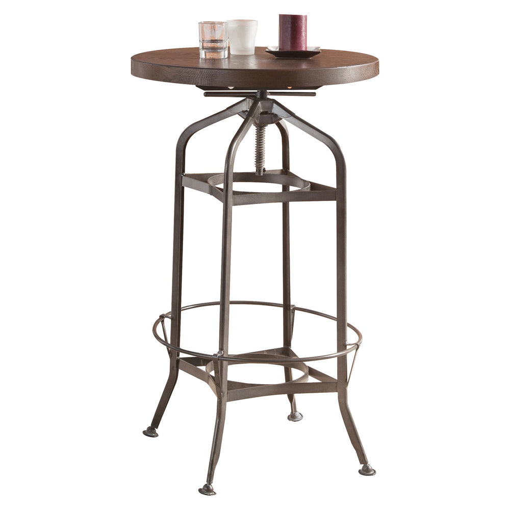 Urban Designs Adjustable Height Metal And Wood Bar Table