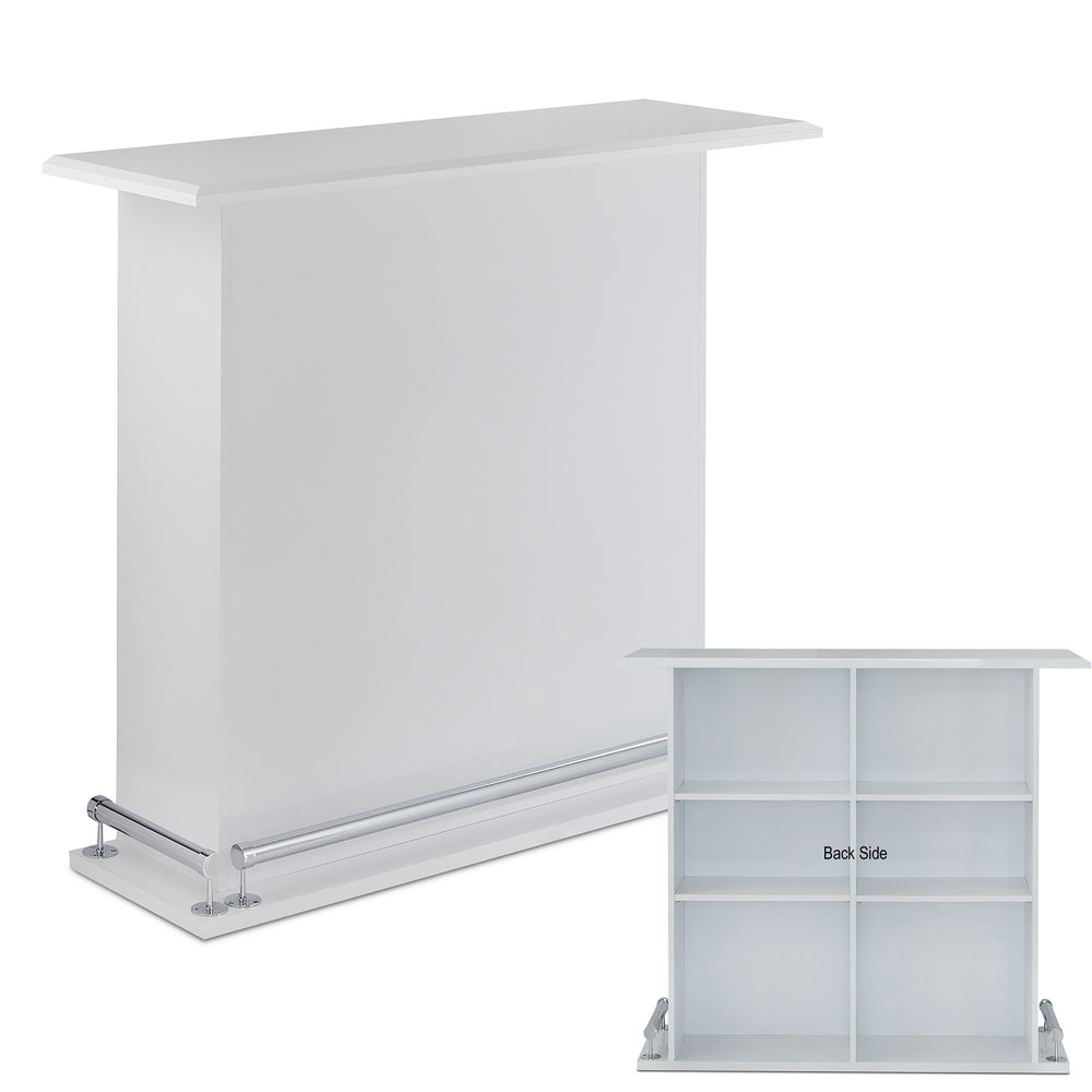 Urban Designs High Gloss White Bar Table With Back Open Storage