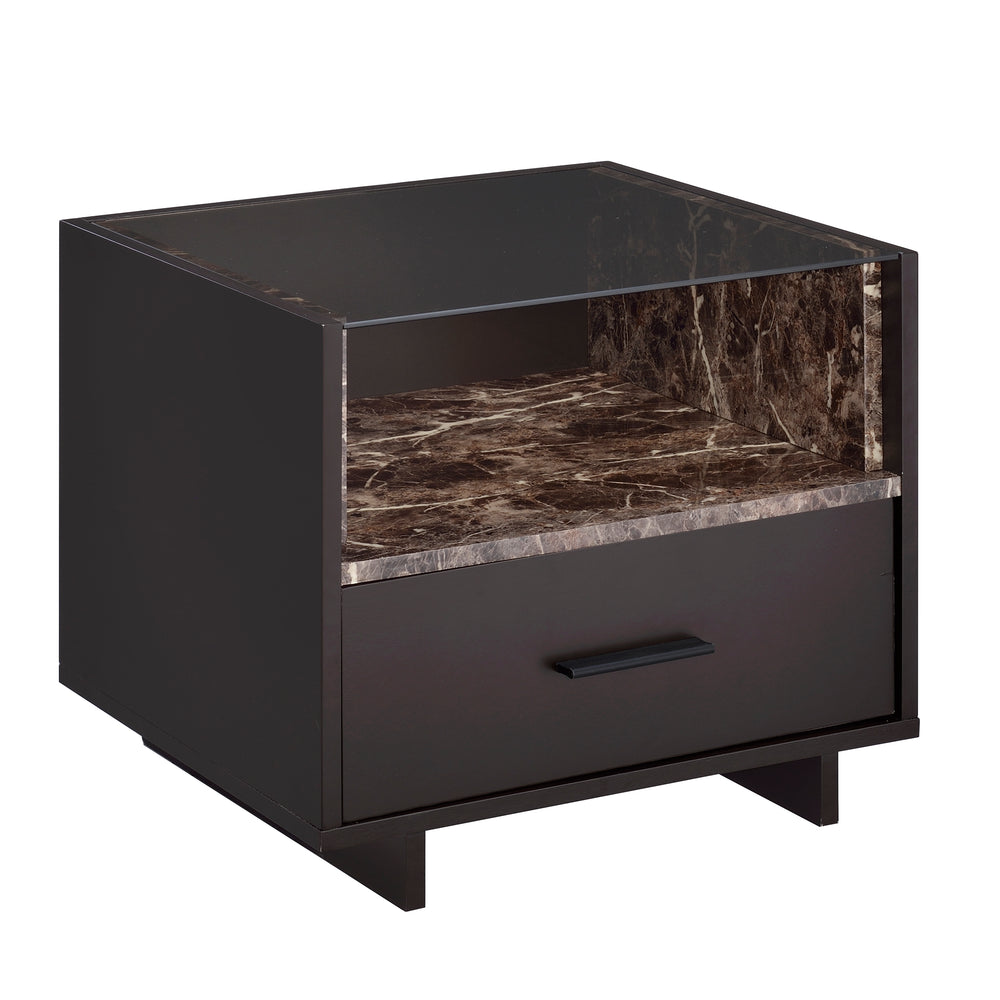 Urban Designs Brant 1-Drawer Nightstand - Espresso and Faux Marble
