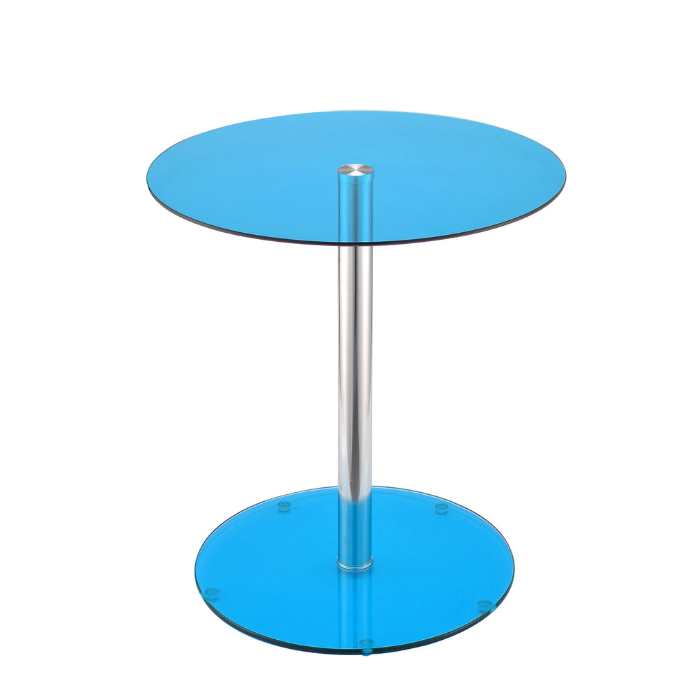 Urban Designs Samantha Chrome Accent Side Table - Blue Glass