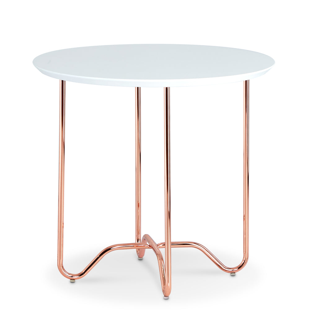 Urban Designs Movila End Table - White with Rose Gold