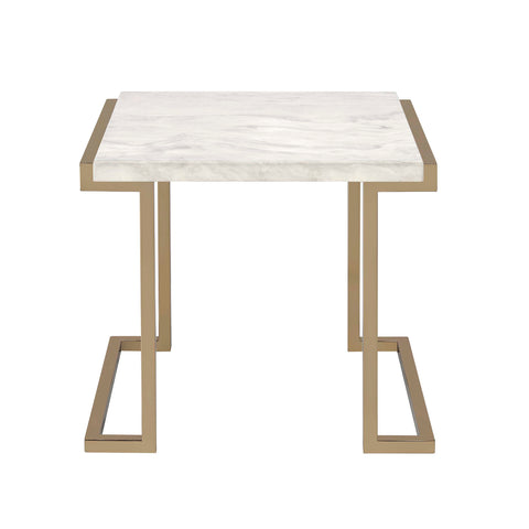 Urban Designs Conella End Table with Faux Marble Top