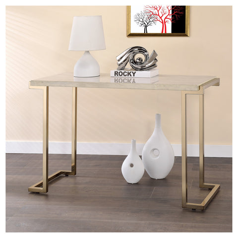 "Urban Designs 44"" L Faux Marble And Metal Sofa Table"