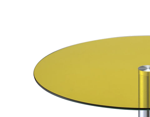 Urban Designs Samantha Chrome Accent Side Table - Yellow Glass