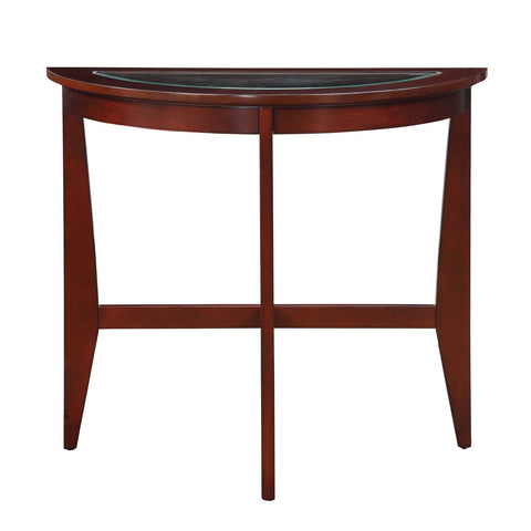 Urban Designs Half Moon Console Table With Glass Top - Espresso