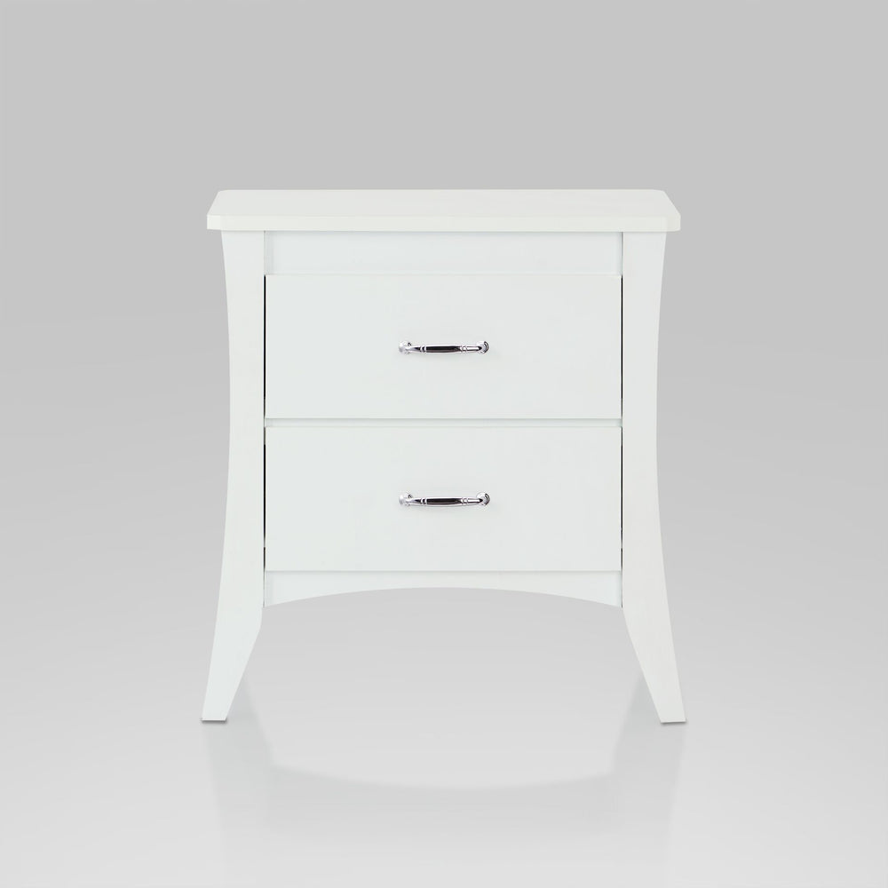 "Urban Designs 25"" 2-Drawer Nightstand Table - White"