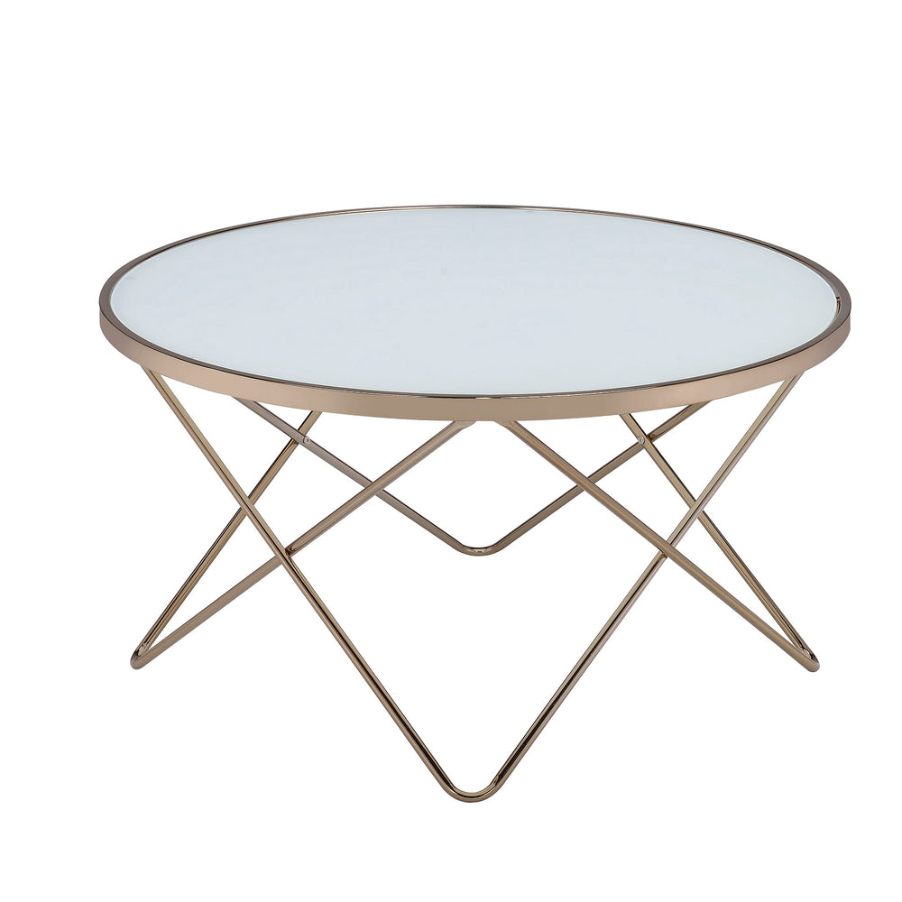 Urban Designs V Metal Frame Round Coffee Table - White Frosted Glass