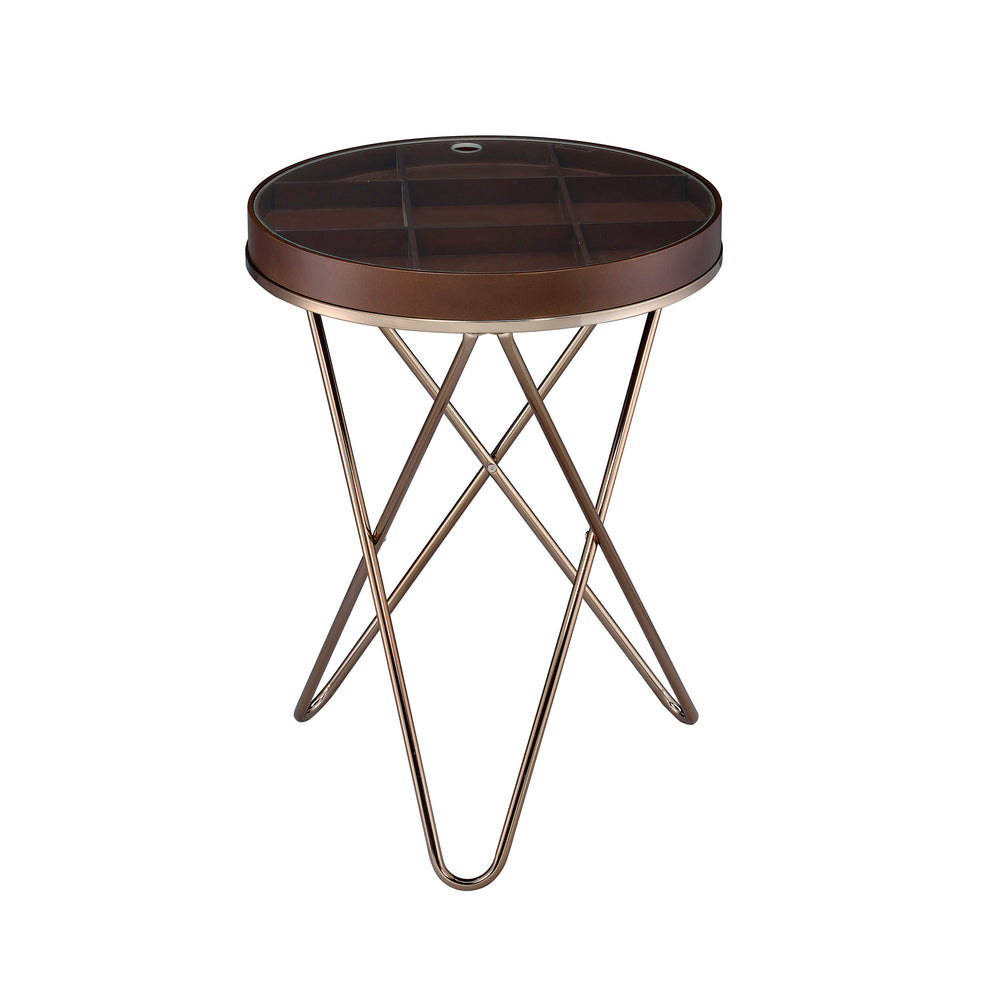 Urban Designs Bourbon Accent Side Table with Glass Top Storage - Walnut Brown
