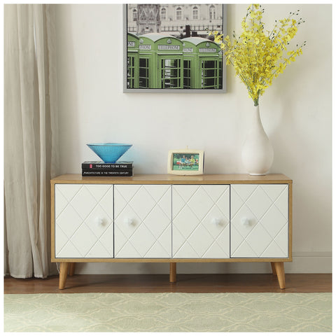 Urban Designs Diamond Console Table - Natural and White