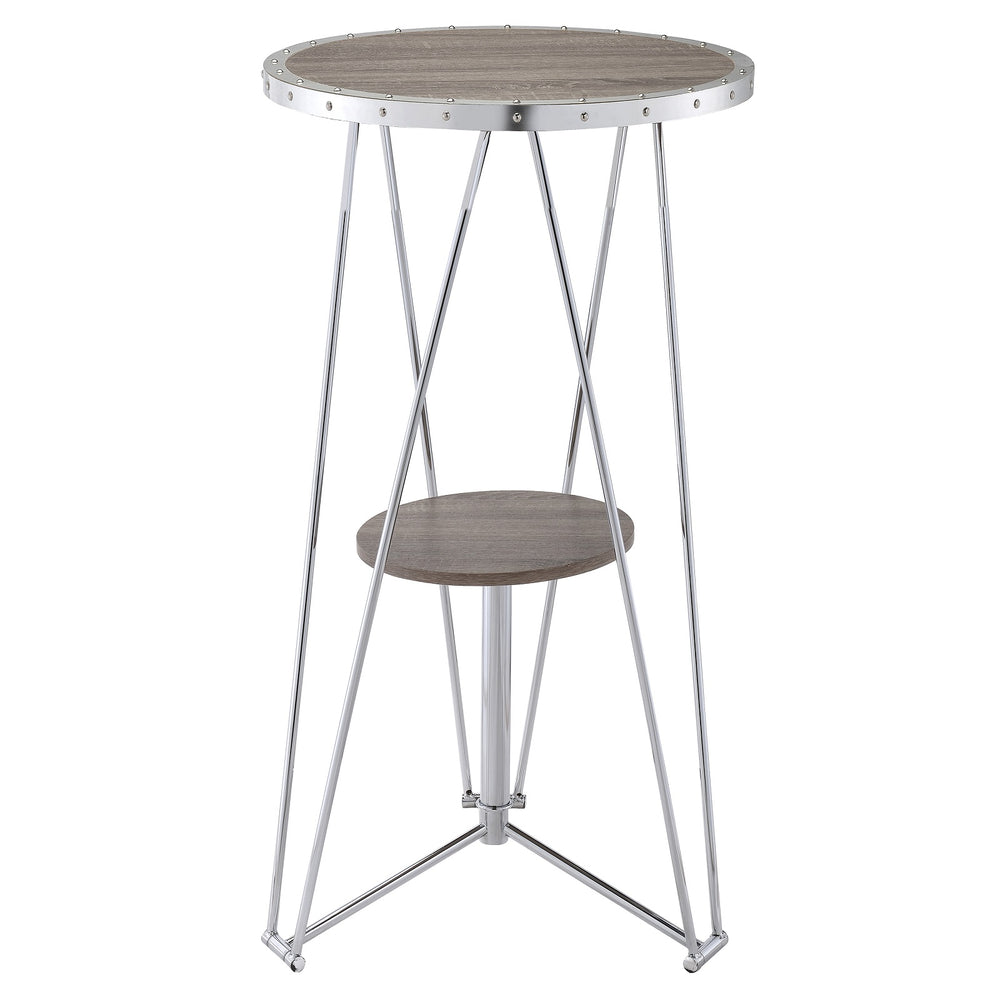 "Urban Designs 41"" H Oak And Chrome Finish Bar Table"