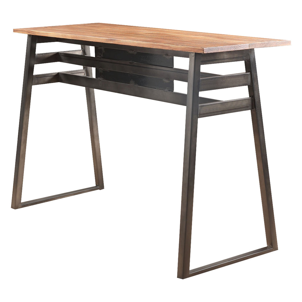 "Urban Designs 59"" L Metal And Wood Bar Table In Natural and Gunmetal Finish"
