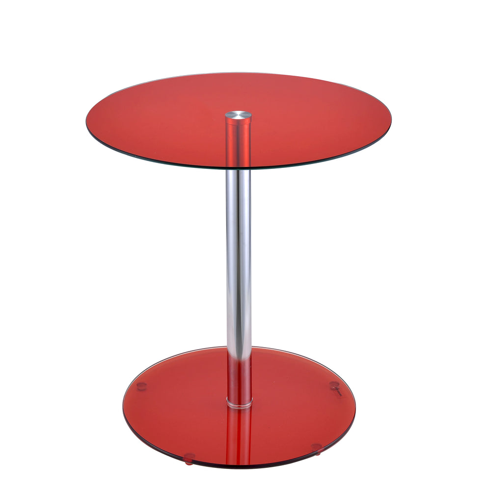 Urban Designs Samantha Chrome Accent Side Table - Red Glass