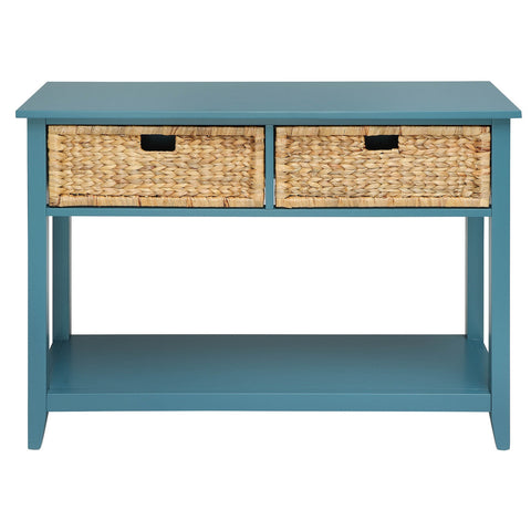 Urban Designs Console Table With Two Basket-like Front Drawers - Teal