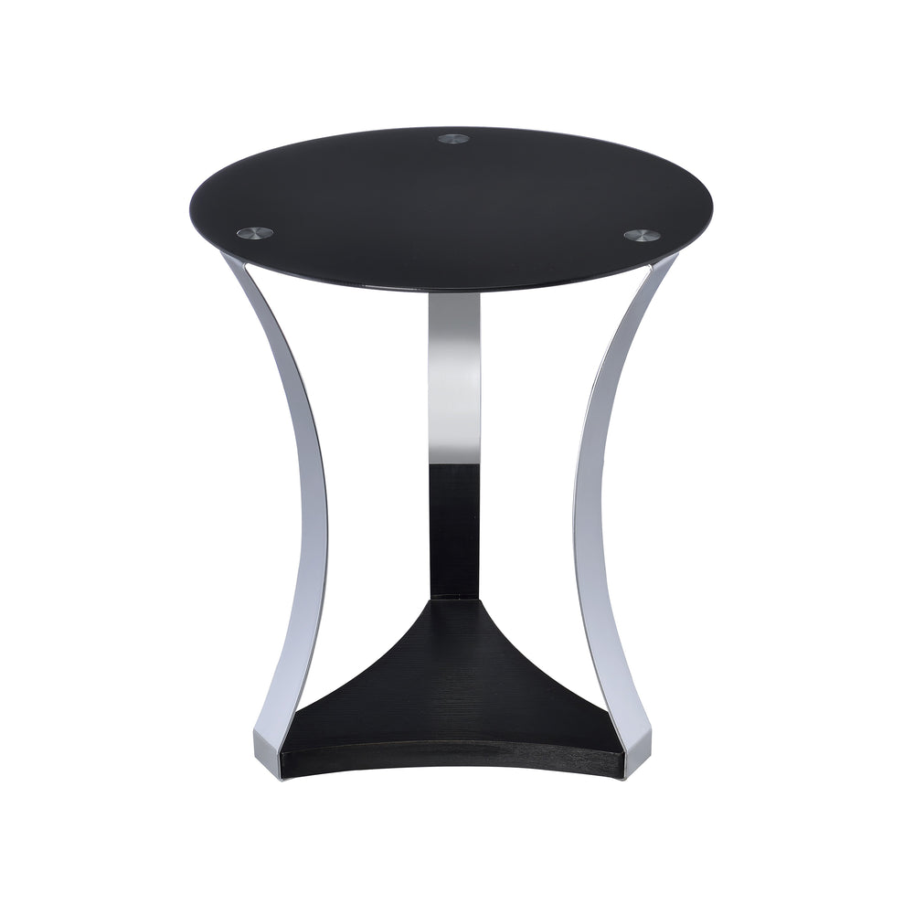 Urban Designs Chela End Table - Black Glass with Chrome