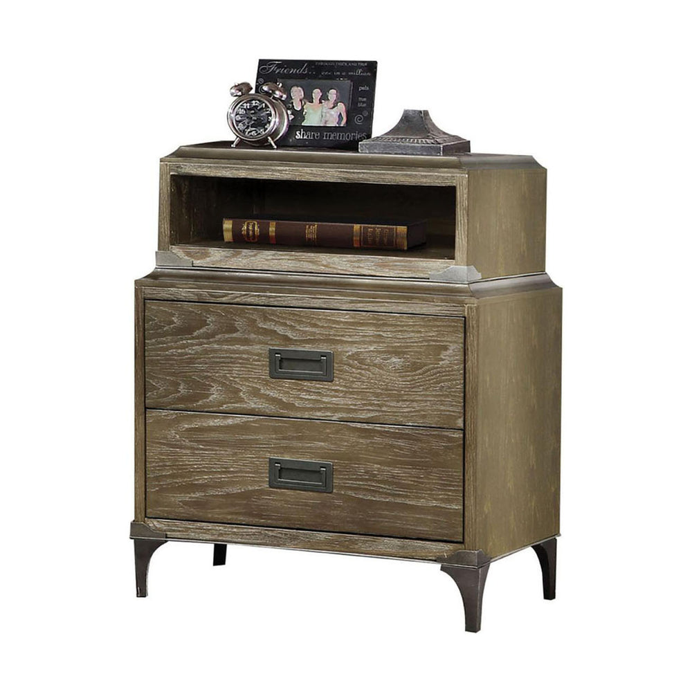 Urban Designs Anaheim 2-Drawer Nightstand with Built-In Qi Charger - Weathered Oak