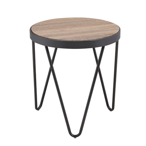 Urban Designs Industrial Flare End Table - Weathered Gray Oak