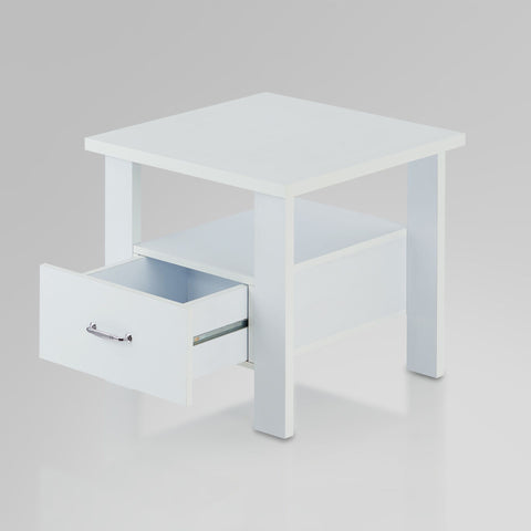 Urban Designs Bedside Square Nightstand with Drawer and Shelf - White