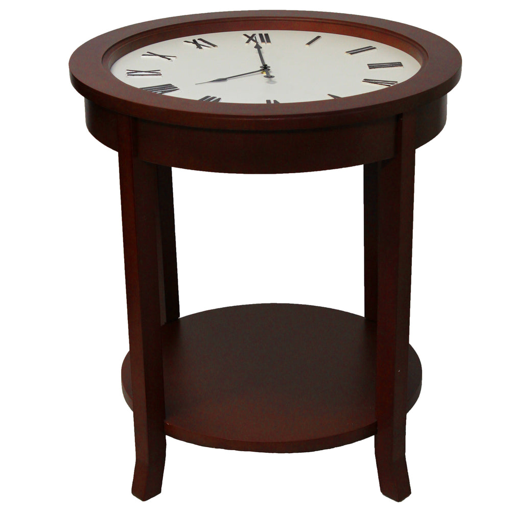 "Urban Designs 26"" Round Wooden Clock Accent Table - Brown"