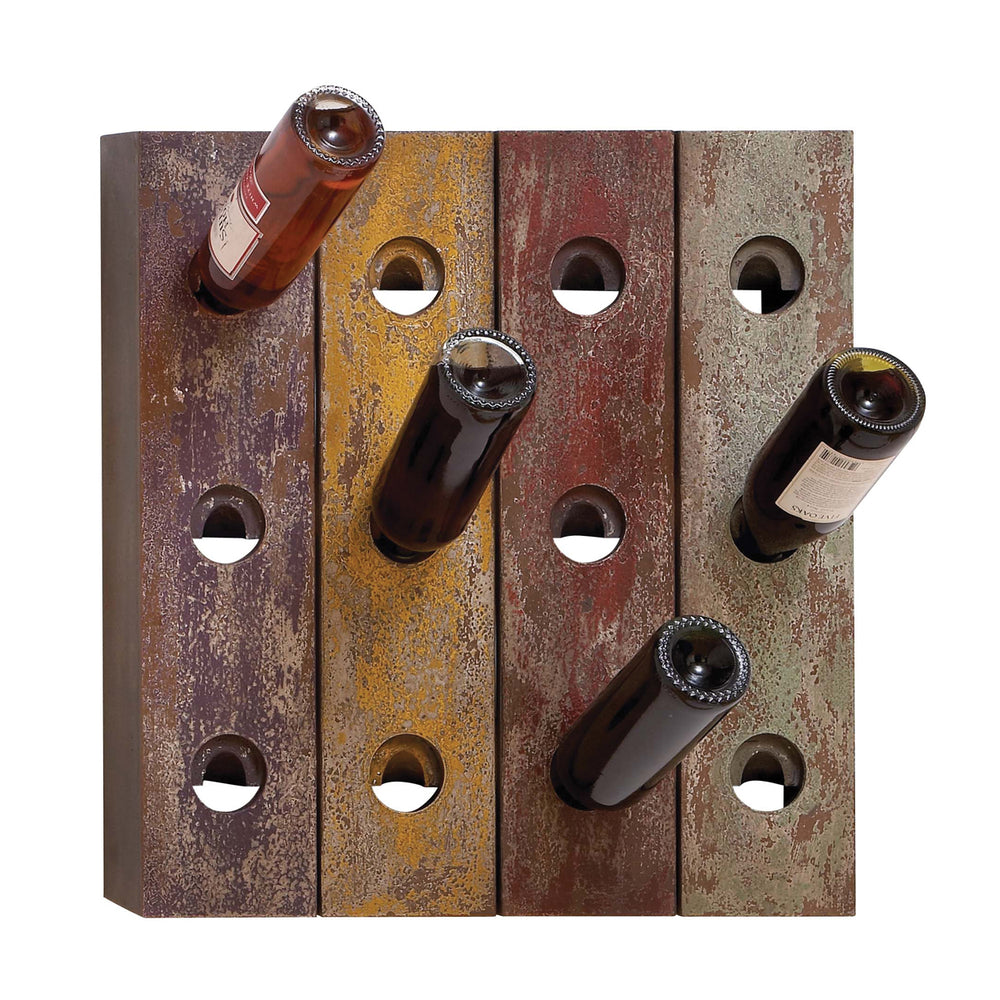 Urban Designs Aged Wood Multicolor Wine Bottle Riddling Rack - 12-Bottle Holder