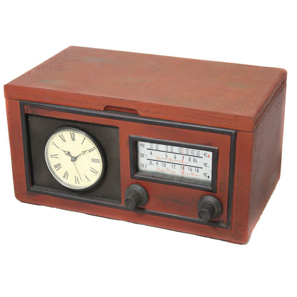Vintage Radio Replica Storage Box and Working Clock