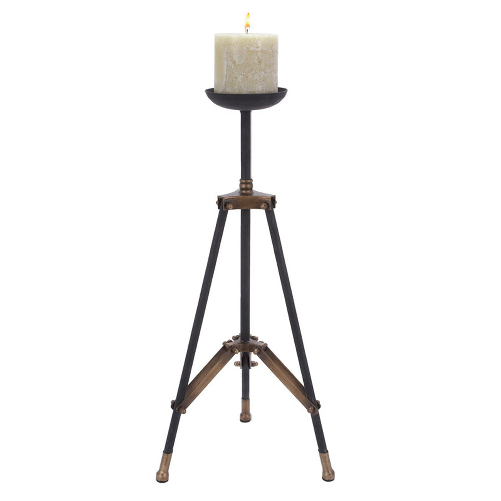 Urban Designs 24-inch Metal Tripod Candle Holder - Black & Gold