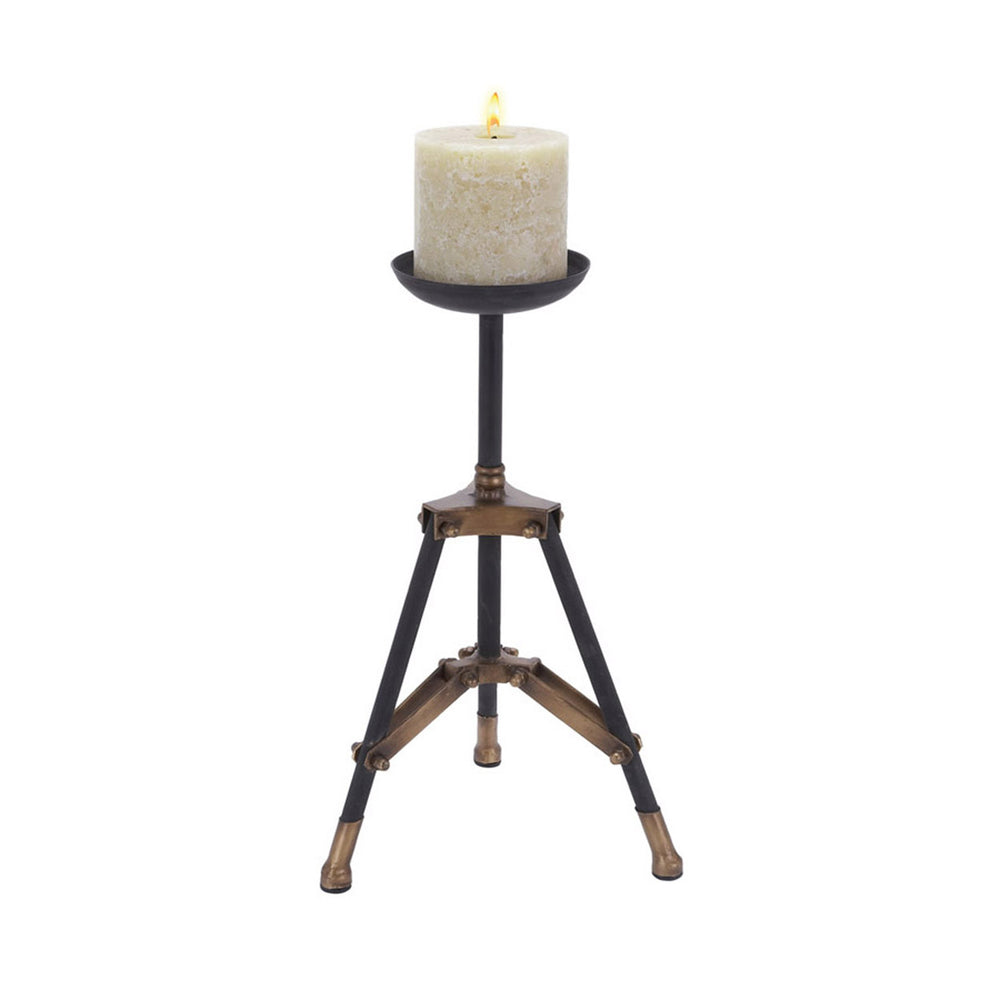 16-inch Metal Tripod Candle Holder - Black & Gold