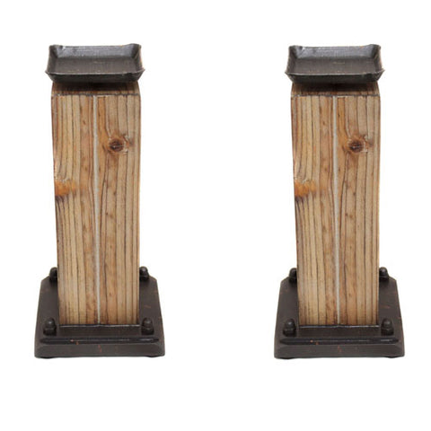Rustic Serenity Raw Wooden Handcrafted Candle Holders - Set of 2