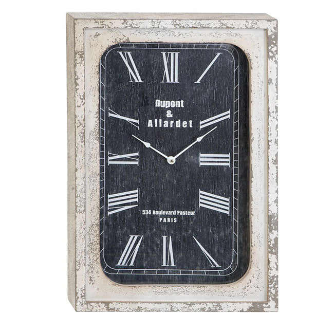 Urban Designs Portobello Antique-Style Weathered Classic Wall Clock - Cracked Beige Frame