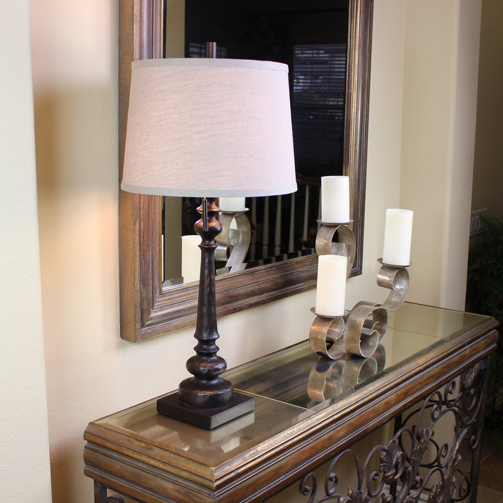 "Urban Designs Reuben 2-Light 31"" Candlestick Table Lamp with USB Port - Bronze"