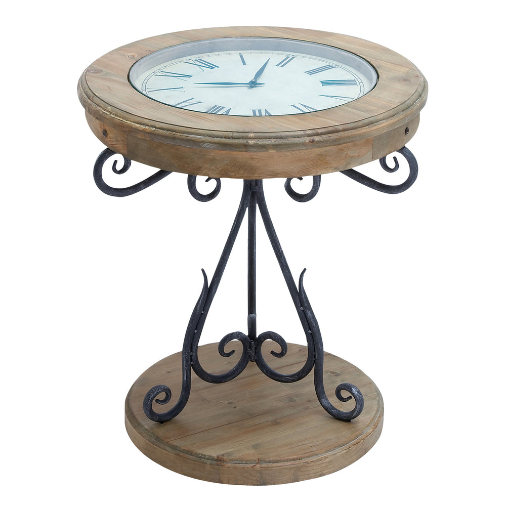 Urban Designs Natural Exposed Wood Round Clock Accent Table