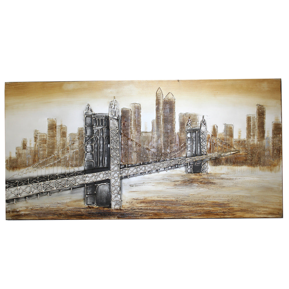 Urban Designs New York Bridge Hand Painted Contemporary Canvas Wall Art Decor