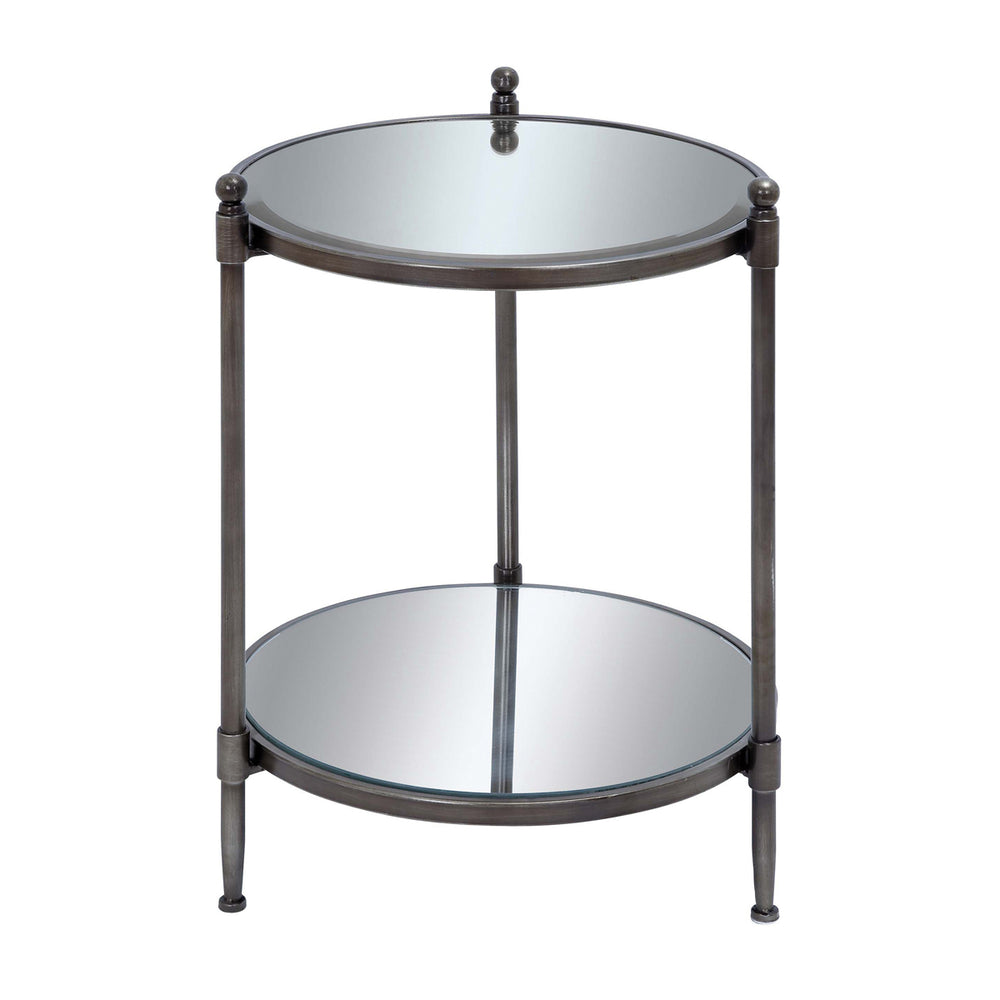 "Urban Designs 24"" Mirrored Round Metal Accent Table With Shelf"