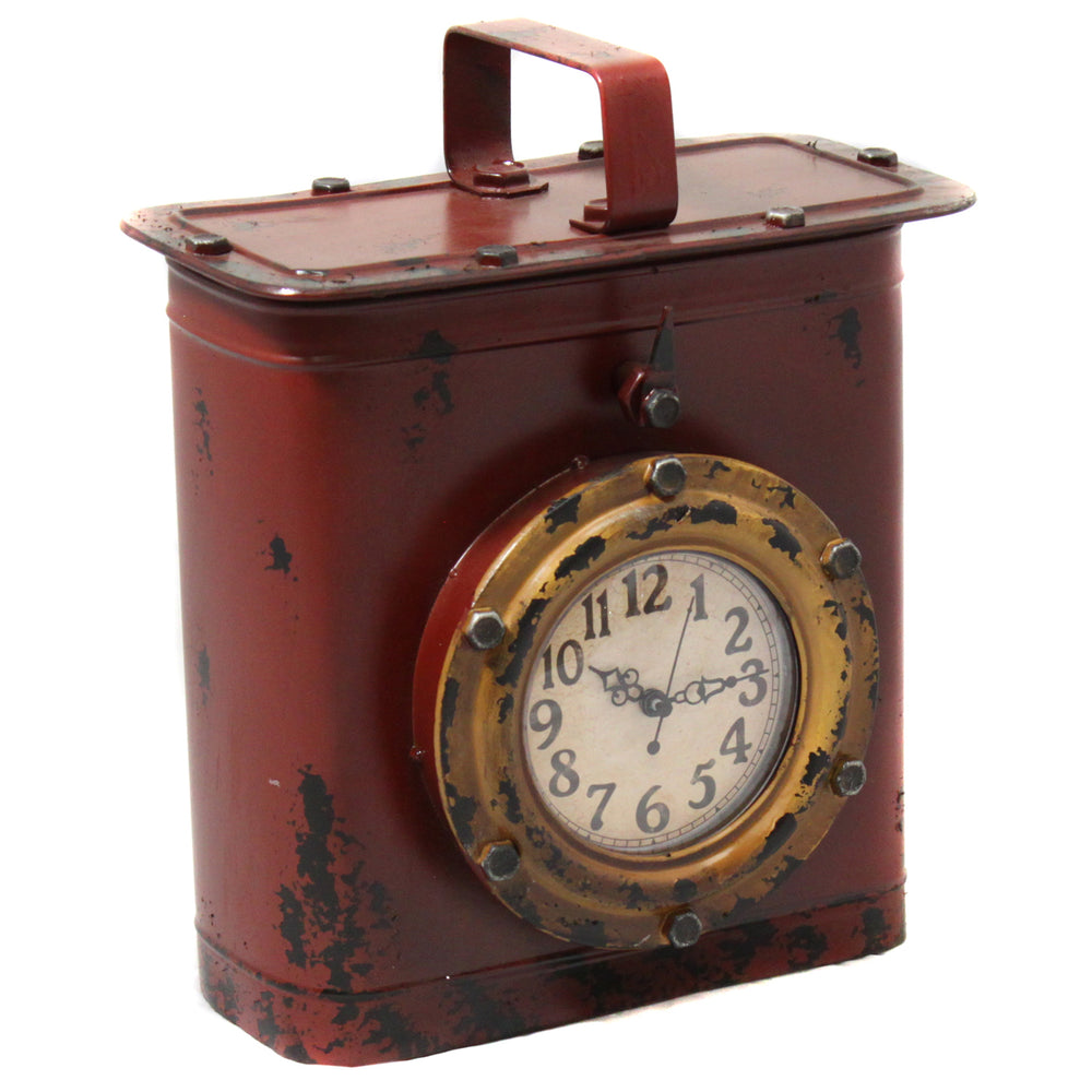 Antique Style Weathered Tin Can Porthole Clock with Hidden Storage - Rust