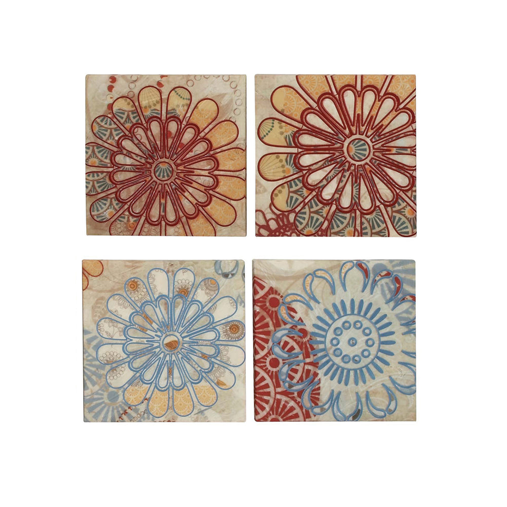 Flower Burst Embroided Canvas 4-Piece Multidirectional Wall Art Decor
