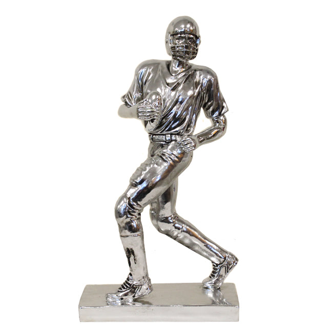 "12"" Pro Football Player Running Quaterback Polyresin Sculpture - Mirror Finish"