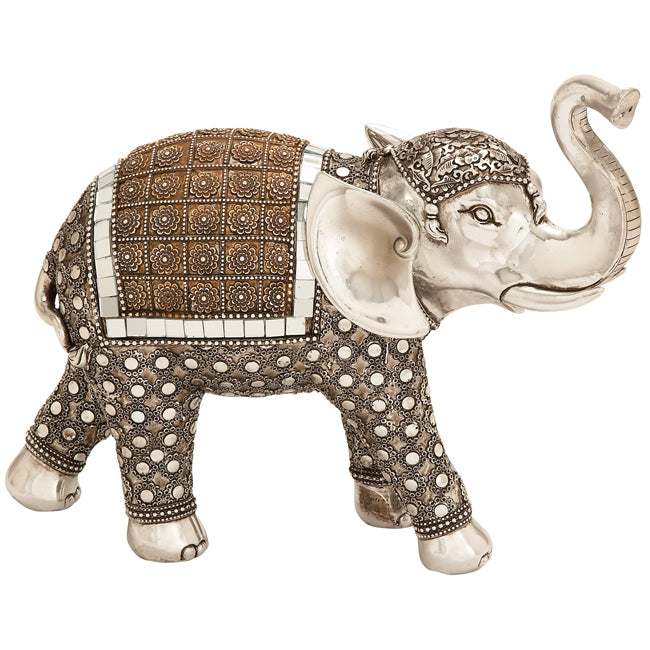 Urban Designs Lucky Standing Elephant Collectible Statue Figurine - Silver