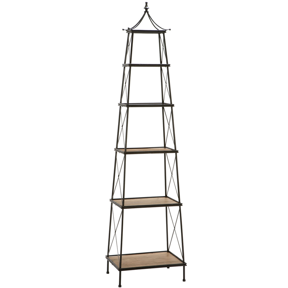 "Urban Designs Parisian Natural Wood and Metal Widening Shelf Tower - 81"" High"