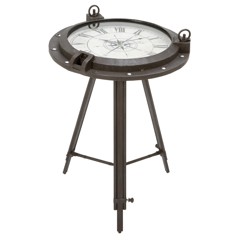 Urban Designs Industrial Porthole Metal Round Clock Coffee and End Table