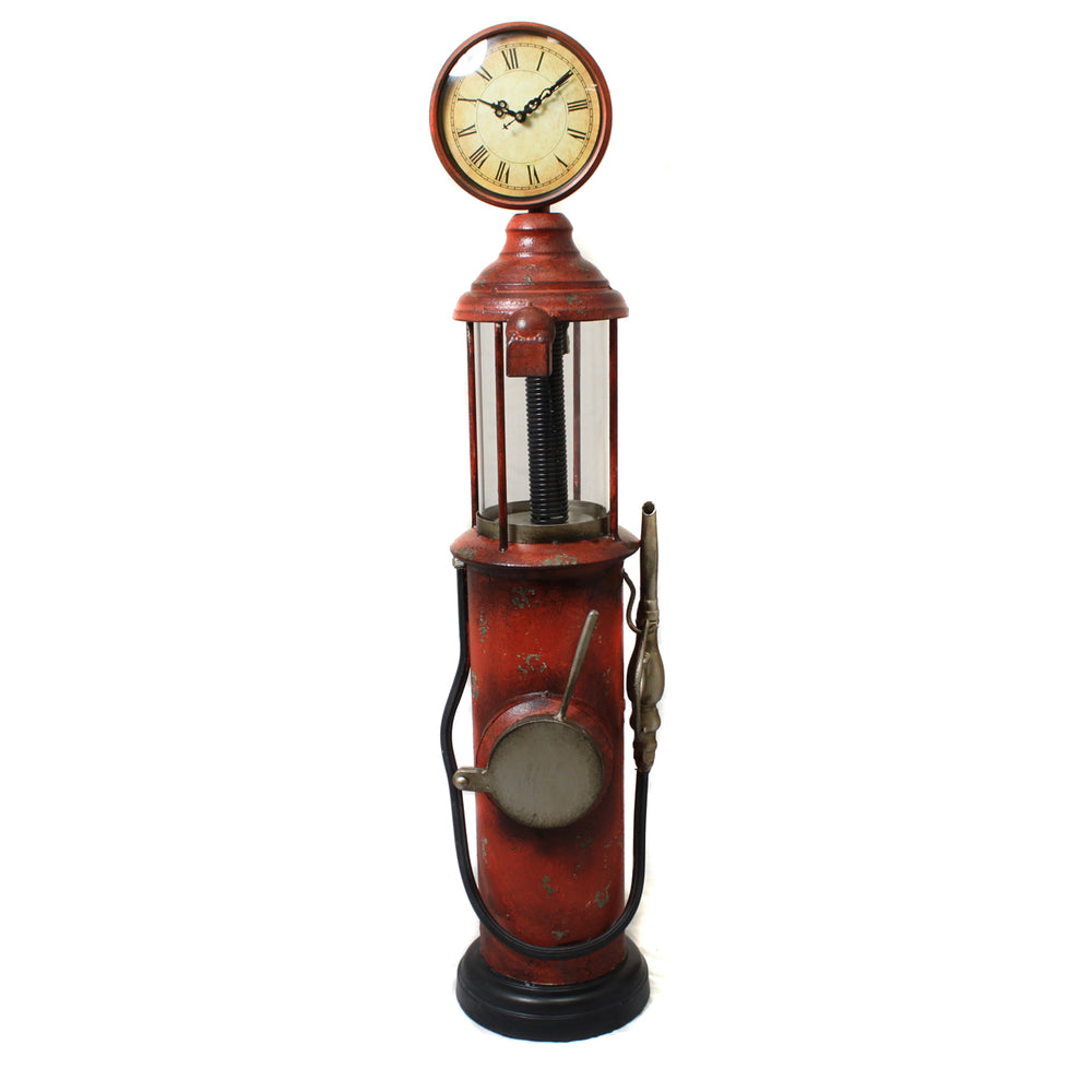 Weathered Handcrafted Retro Gas Pump Decorative Clock
