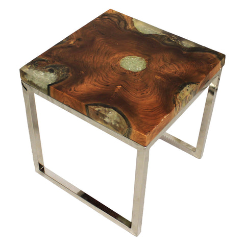Urban Designs Wood Art Stainless Steel Nesting Accent Table - Set of 2