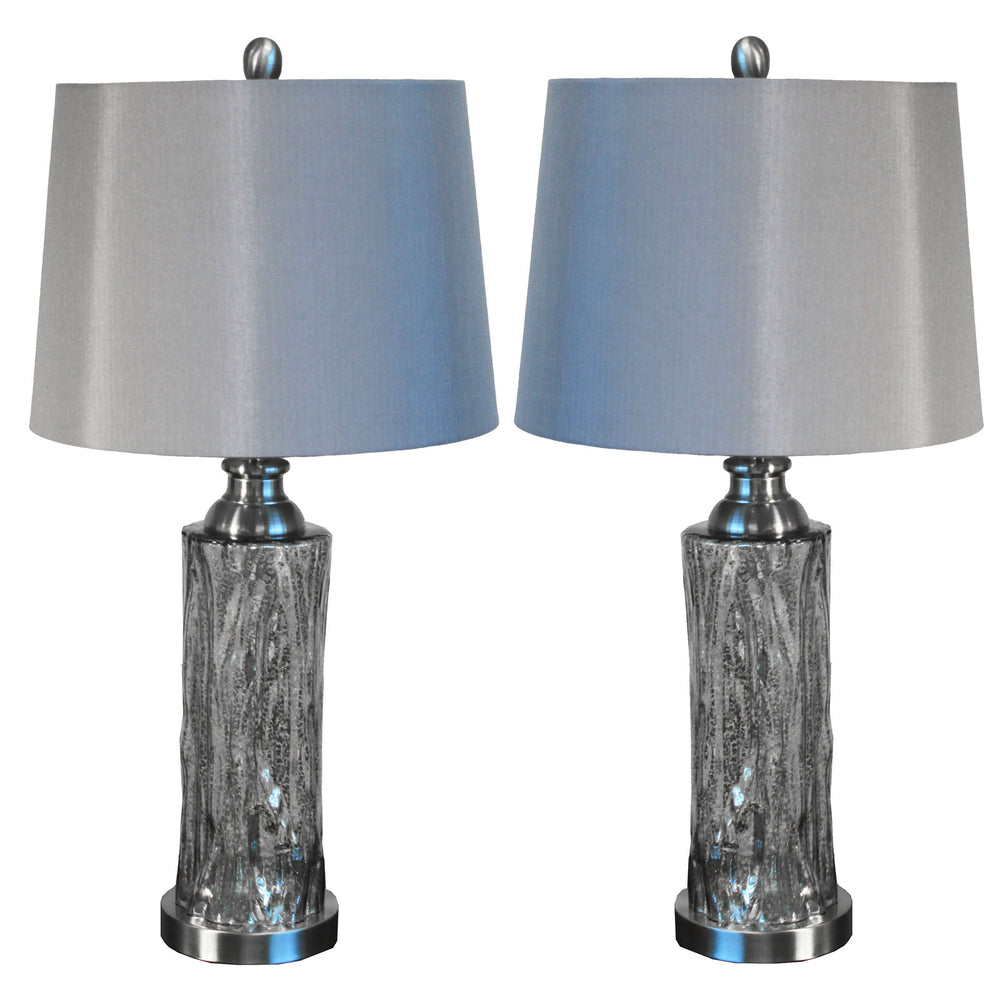 "Urban Designs Quicksilver 26"" Glass Table Lamp with Shade - Set of 2"