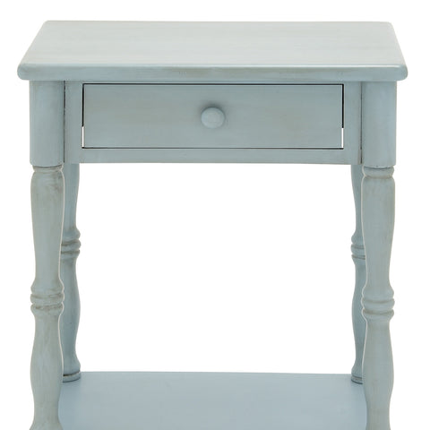 "Urban Designs Laurie 31"" Weathered Wooden Nightstand with Drawer - Baby Blue"