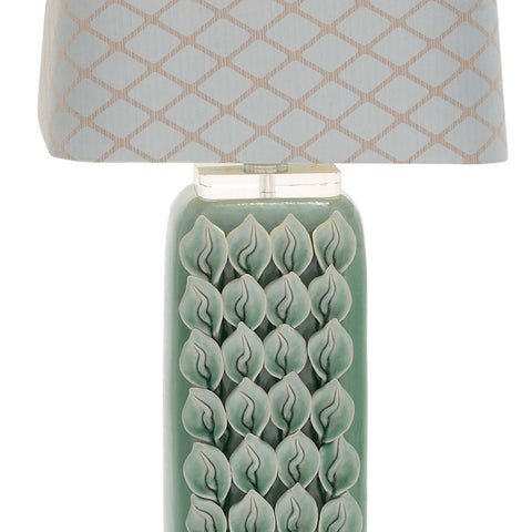 Urban Designs Hand-crafted Calla Lily Ceramic Floral Table Lamp - Teal