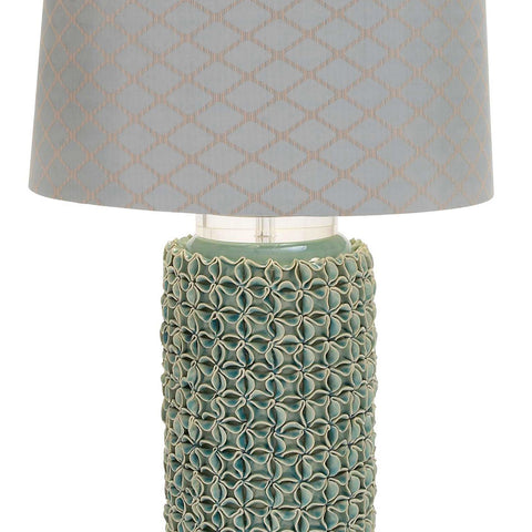 Urban Designs Hand-crafted Ceramic Floral Table Lamp - Teal